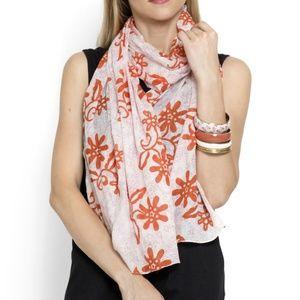 Scarf 100% Cotton Matching Bangles Orange White
